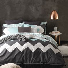 The Marley Mint Duvet Cover Set by Logan and Mason brings the cool, refreshing ambience of mint green into your bedroom. Crisp and cool, this Duvet Cover Set will be right at home in any bedroom.