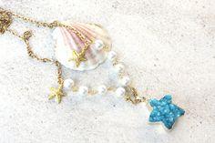 blue druzy pendant druzy jewelry beachy druzy pendant by PYKNIC2