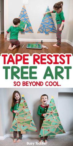 Christmas Tree Art, Christmas Crafts For Kids, Christmas Projects, Christmas Themes, Holiday Crafts, Holiday Fun, Back To School Crafts For Kids, Cardboard Christmas Tree, Toddler Christmas