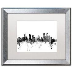 "Trademark Art ""Denver Colorado Skyline B&W"" by Michael Tompsett Framed Graphic Art Size: 1"