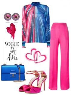 A fashion look from March 2018 featuring pink silk pants, cocktail shoes and blue shoulder bag. Browse and shop related looks. Curvy Girl Fashion, Girls Fashion Clothes, Black Women Fashion, Work Fashion, Hijab Fashion, Fashion Looks, Fashion Outfits, Clothes For Women, Womens Fashion