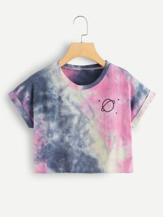 Shop Water Color Cuffed Tee at ROMWE, discover more fashion styles online. Cute Lazy Outfits, Crop Top Outfits, Stylish Outfits, Cool Outfits, Girls Fashion Clothes, Teen Fashion Outfits, Outfits For Teens, Teenager Outfits, Belly Shirts