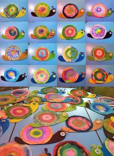 Kunst in der Grundschule: bunte Schnecken