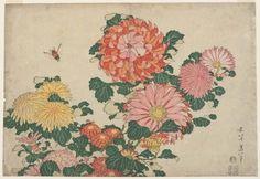 'Chrysanthemums and Horsefly' ( circa 1833–34 ).Woodblock...
