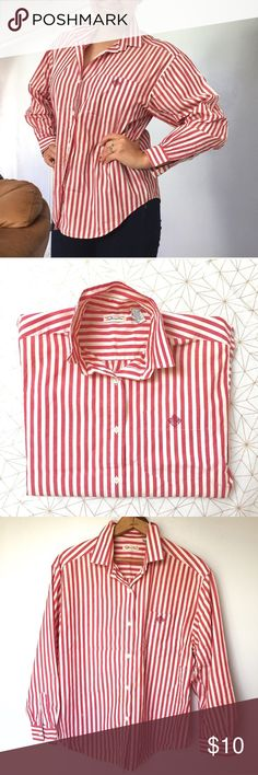 """Talbots red & white striped button down shirt - Size: M - Material: 100% cotton - Condition: decent used condition; some discoloration throughout - Color: red and white - Pockets: yes - Closure: buttons - Style: button down - Pair with: work slacks and shoes - Extra notes: blue version also in my closet   *Measurements:  Bust: 22"""" flat Length: 29"""" Sleeve: 17.5"""" from armpit Talbots Tops Button Down Shirts"""