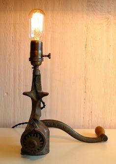 Repurposed Vintage Meat Grinder Lamp by JKnoxDesigns on Etsy, $38.00