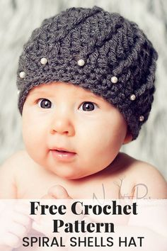 Crochet Beanie Design A gorgeous and elegant crochet hat pattern that features a unique spiral shell stitch design. Includes all sizes. By Posh Patterns. Newborn Crochet Patterns, Crochet Flower Patterns, Crochet Baby Hats, Crochet Beanie, Crochet For Kids, Baby Blanket Crochet, Easy Crochet, Crochet Flowers, Free Crochet