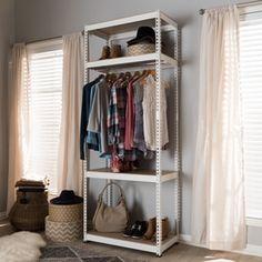 Baxton Studio Gavin White Metal 4-Shelf Closet Storage Racking Organizer