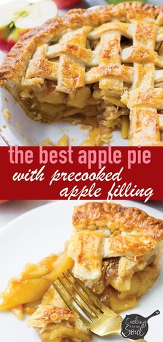 Apple Pie with Precooked Apples! Never struggle with undercooked or soupy apple pies anymore. Precooking apples ensures the perfect consistency Apple Pie Recipes, Apple Desserts, Gourmet Recipes, Dessert Recipes, Tart Recipes, Fall Desserts, Fruit Recipes, Recipies, Homemade Apple Pie Filling