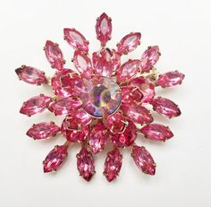 Pink rhinestone Brooch  Pronged Glass by serendipitytreasure