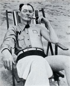 1940: Human sunshine tester, blocking off parts of himself to compare California and Florida sunshine.