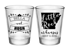"100x Personalized Shot Glasses Spring Wedding Favor 2 Side | 1.75 oz Clear | Custom State Map (4A) | Choose Imprint Color | by ""ThatWedShop"" on Etsy 
