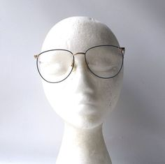 741179255df vintage NOS blue enamel metal wire eyeglasses gold frame men women modern  retro eye glasses eyewear round executive scholar professor by  RecycleBuyVintage ...