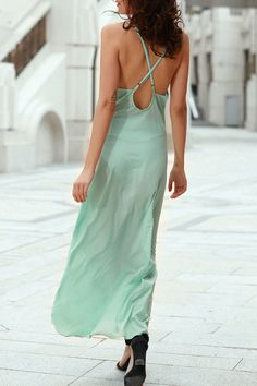 Solid Color Spaghetti Strap Backless Maxi Dress #CLICK! #clothing, #shoes, #jewelry, #women, #men