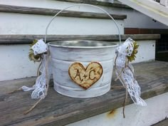 personalized Rustic flower girl basket, barn wedding, rustic wedding, country wedding, beach wedding on Etsy, $29.95
