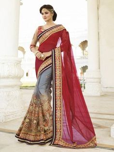 Red and Grey Georgette Saree with Embroidery Work