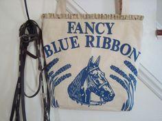 vintage horse feed sack tote