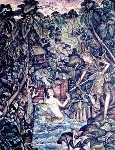 'Dewi Sri, Antaboga dan Batar Guru' (mythology scene), artist I Made Budi (b1932, Batuan Gianyar, Bali, Indonesia)