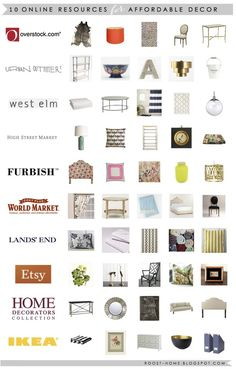 10 places to shop online for affordable home decor  http://www.overstock.com/  http://www.urbanoutfitters.com/  http://www.westelm.com/  http://www.highstreetmarket.com/  http://furbishstudio.com/  http://www.worldmarket.com/  http://www.landsend.com/  http://www.etsy.com/  http://www.homedecorators.com/  http://www.ikea.com/