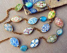 "Portugal Antique Azulejo Tile Replica LONG Necklace 46"" (116cm) Porto Coimbra Ovar Tomar Lisbon Lamego OOAK"