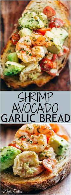 Shrimp Avocado Garlic Bread Recipe Need appetizer, lunch, or some serious snack inspiration? Shrimp Avocado Garlic Bread would have to be the next BEST thing to garlic bread! Healthy Diet Recipes, Healthy Snacks, Healthy Eating, Cooking Recipes, Dinner Healthy, Diet Snacks, Diet Meals, Healthy Life, Fish Recipes