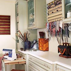 Craft Rooms & Sewing Rooms: Ideas for Craft Storage Sewing Room Storage, Craft Room Storage, Paper Storage, Sewing Rooms, Craft Organization, Wall Storage, Craft Rooms, Ribbon Storage, Ribbon Organization