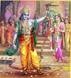 Lord Rama breaks the Bow. Valmiki indicates Lakshmana too.