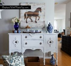 The sideboard is painted with Pure White Chalk Paint® decorative paint by Annie Sloan, some distressing to bring out the pretty appliqués and sealed with 2 coats of Soft Clear Wax.