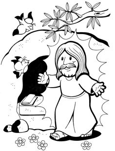 Sunday School Activities, Sunday School Crafts, Easter Colouring, Coloring Pages For Kids, Seman Santa, Jesus Cartoon, Easter Story, Catholic Kids, Church Crafts