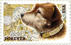 Owney the Postal Dog, mascot of the Railway Mail Service on a 2011 stamp.