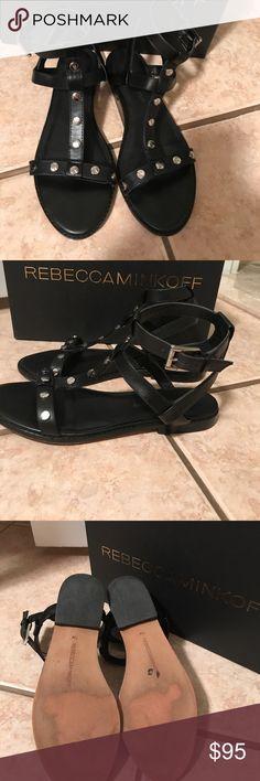 Rebecca Minkoff black leather sandals Rebecca Minkoff black calf leather sandals w silver hardware ( box included) gently worn Rebecca Minkoff Shoes Sandals