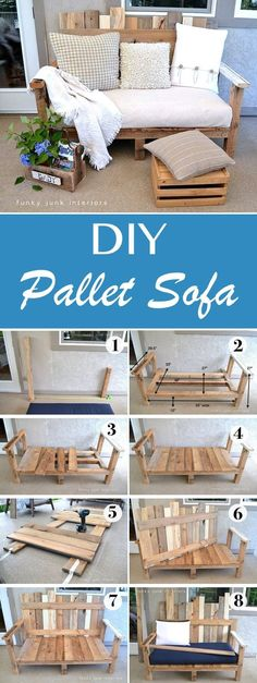 The weather is warm, the bees are buzzing and the flowers are blooming- spring is the perfect time to get outside and get your hands dirty with a DIY project. These 15 DIY outdoor pallet furniture ideas are just as functional as they are beautiful. Diy Pallet Sofa, Diy Pallet Furniture, Outdoor Pallet, Furniture Ideas, Pallet Furniture For Outside, Outdoor Sofa, Pallet Ideas For Outside, Bedroom Furniture, Diy Couch