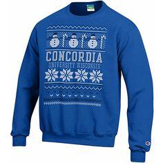 Champion® Concordia University Wisconsin Ugly Sweater Crewneck Sweatshirt :: CLEARANCE $16.99