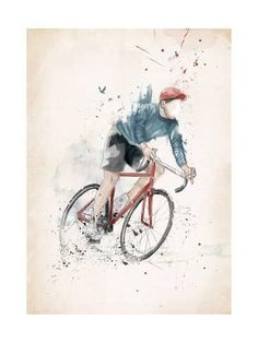 Art Print: I Want to Ride My Bicycle by Balazs Solti : 24x18in