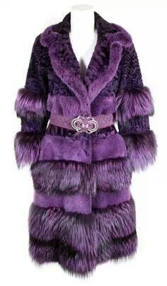Vintage Bill Blass purple fox and curly lamb coat. It cinches with a woven purple belt with a silver medallion buckle. From a collection of rare vintage jackets at Purple Coat, Purple Hues, Shades Of Purple, Deep Purple, Mauve, All Things Purple, Purple Stuff, Fabulous Furs, Bill Blass