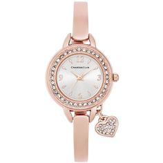 Charter Club Women's Rose Gold-Tone Bangle Bracelet Watch with Heart... (38 CAD) ❤ liked on Polyvore featuring jewelry, watches, rose gold, heart bangle bracelet, rose gold charms, charter club watches, bangle watches and bezel watches