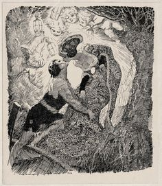 "Norman Lindsay (1879-1969), 'Fairy Story', from ""Colombine"" by Hugh McCrae, Angus and Robertson, 1920  Source: https://archive.org/details/colombinewithill00mccruoft"
