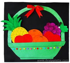 Create an easy paper fruit basket with a set of matching paper fruits. Fun Crafts For Kids, Preschool Crafts, Diy For Kids, Arts And Crafts, Craft Kids, Vegetable Crafts, Vegetable Basket, Fruit Crafts, Food Crafts