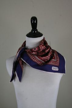 Vintage Classic Square Silk Red, White, and Blue Giacomo Italian Scarf by YaYaRetro on Etsy