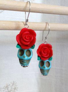 Dia de los Muertos Earrings - Turquoise Skull w/ Red Flower. $10.00, via Etsy.