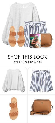 """""""Loved holding @auburnlady cats❤"""" by flroasburn ❤ liked on Polyvore featuring Gap, MANGO, Jack Rogers and Tory Burch"""