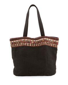 V3998 Ale by Alessandra Cleopatra Beaded & Embellished Linen Tote Bag