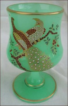 26503c4032d1 French Enameled Uranium Glass Peacock Pheasant Vase made by the Famous  Baccarat 1870