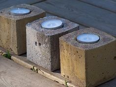 Candle holder out of concrete Concrete Projects, Concrete Design, Candle Holders, Candles, Objects, Crafts, Diy, Ideas, Manualidades