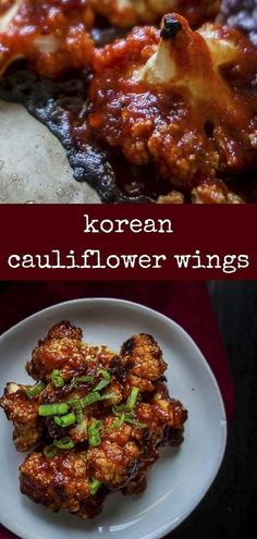 These Spicy Korean Cauliflower Wings are roasted until crisp and caramelized in . - These Spicy Korean Cauliflower Wings are roasted until crisp and caramelized in a sauce of gochujan - Veggie Recipes, Asian Recipes, Vegetarian Recipes, Cooking Recipes, Healthy Recipes, Asian Desserts, Healthy Food, Baked Cauliflower Wings, Oven Roasted Cauliflower