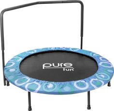 """Pure Fun 9008SJ Super Jumper Kids Trampoline with Handrail, Blue - 48 Inches. 48"""" trampoline offers a great way for your kids to build stamina while improving coordination, flexibility, agility and balance, all while burning off some of that extra energy and having fun. Ergonomic bent safety bar for increased security and stability; Soft, cushioned handle for firmer, more comfortable gripping. Bouncing system is ASTM, TUV/GS and CE certified for safety; Easy and quick assembly, no…"""