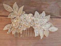 WORLDWIDE FREE SHIP Champagne bridal lace hair comb – bridal hair comb – bridal lace headpiece – bridal headpiece – wedding - Hairstyles For All Bridal Comb, Hair Comb Wedding, Wedding Hair Pieces, Headpiece Wedding, Bridal Lace, Bridal Headpieces, Wedding Makeup, Wedding Rings, Bridal Headdress