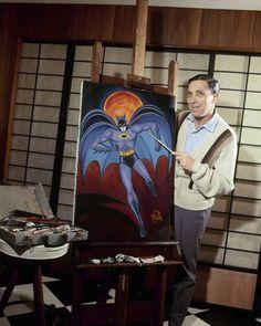 Bob Kane the co-creator of Batman along with Bill Finger. Batman Story, Batman And Superman, Batman Comics, Dc Comics, Comic Book Artists, Comic Artist, Comic Books Art, Batman Painting, Bob Kane