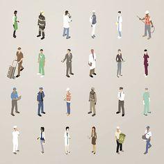 Menschen bei der Arbeit-Flat Icons Illustration – Vektorgrafik