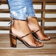 79f8f44416e8 Sexy Rose Gold Triple Strap Open Toe Chunky Heels Metallic Faux Leather